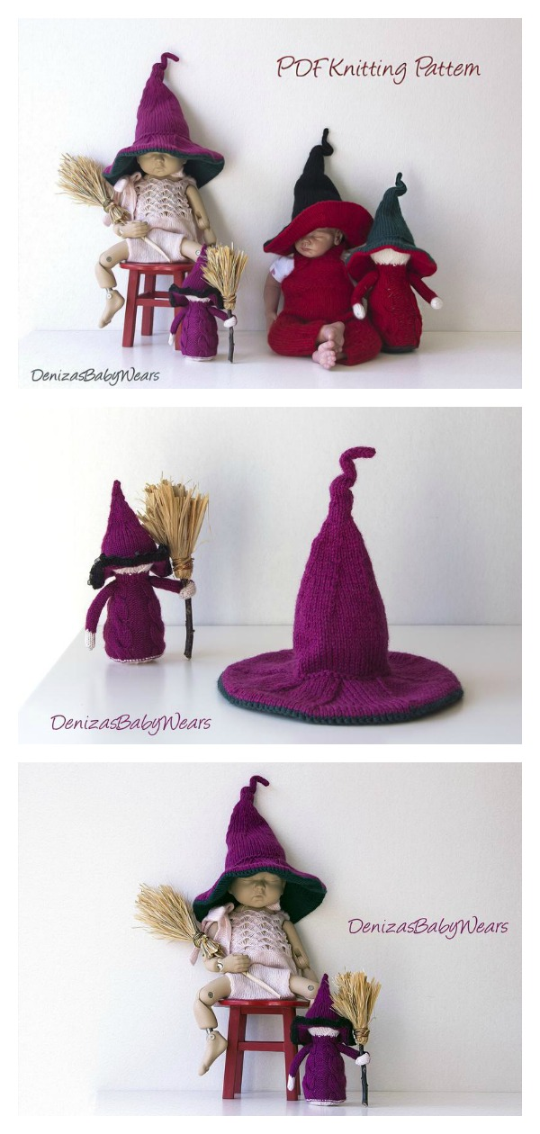 Witch Hat Knitting Patterns | Hat knitting patterns, Diy ...