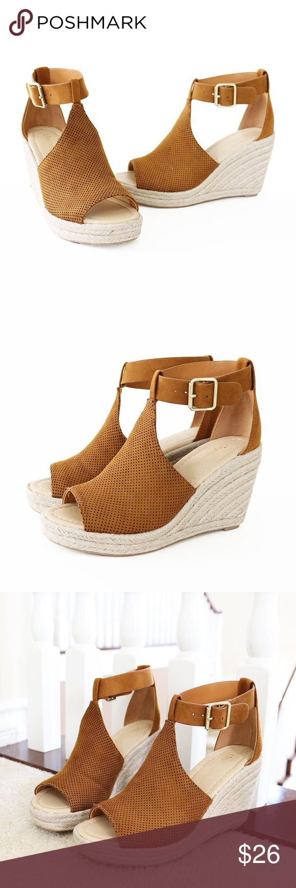 5d5f8e48f7b cashier tan espadrille sandal Perforated Upper Ankle Strap Bronze Buckle Wedge  Espadrille Sandal. Style