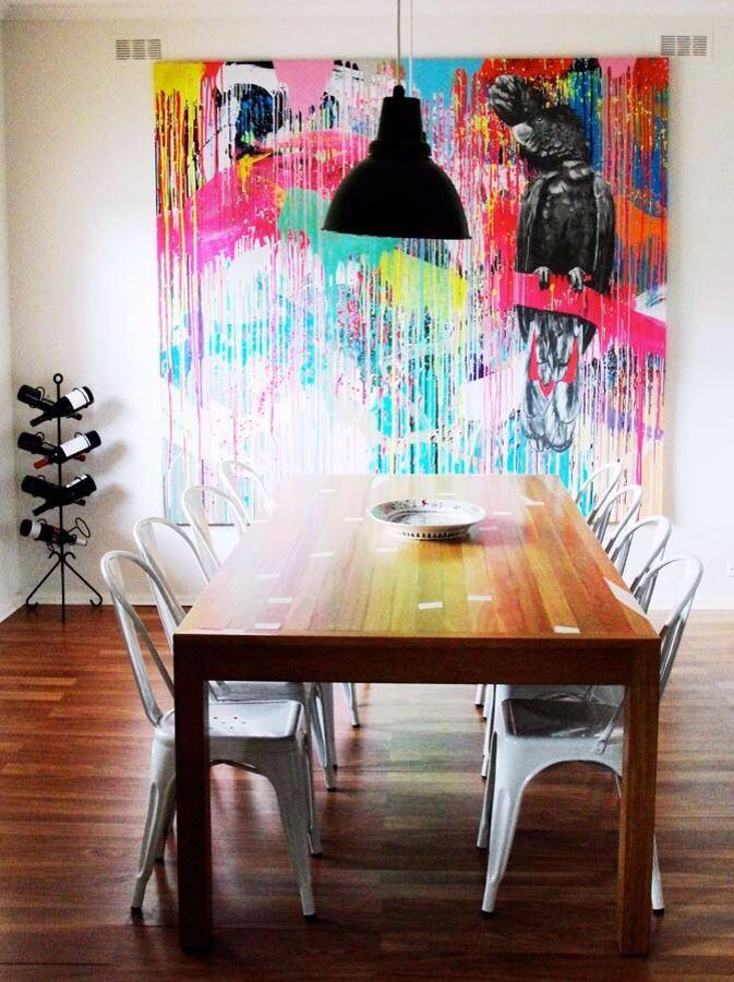 Colourful abstract fine art painting  modern dining room