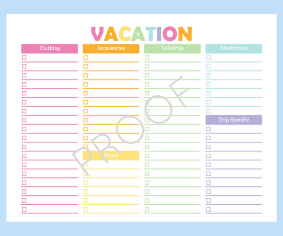 printable packing checklist printable packing list for the beach