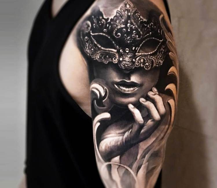 Tattoo Woman Face Mask: Girl With Mask Tattoo By Arlo Tattoos