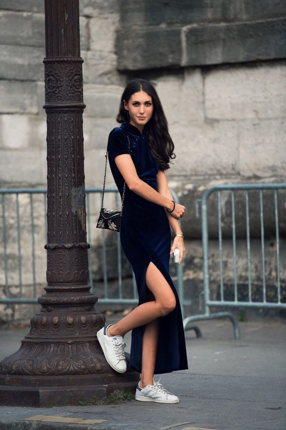 23 Ways to Wear a Pair of White Sneakers | Blue velvet dress ...
