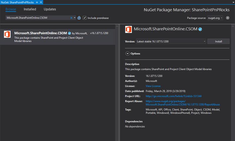 New SharePoint CSOM version released for SharePoint Online