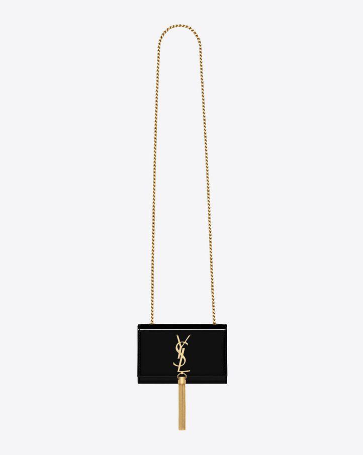 b27a6e6e287f saintlaurent  classic small monogram tassel satchel in black patent leather Ysl  Monogram Bag