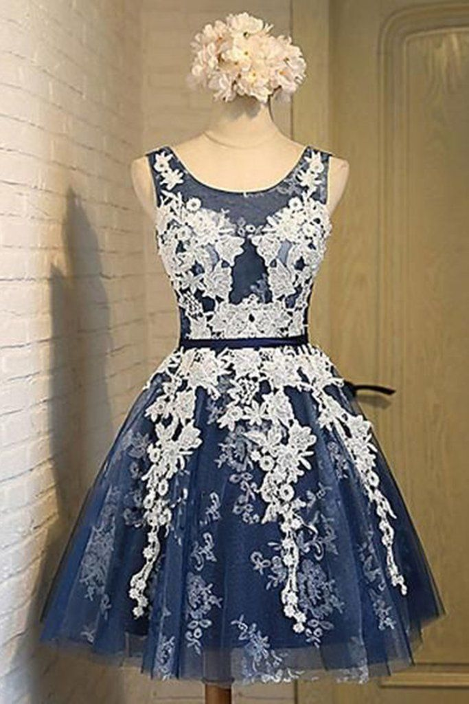 a599b6c521a Dark blue tulle lace O-neck see-through A-line short dresses