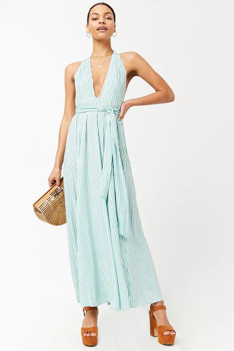 57cda6b1db9 Striped Plunging Maxi Dress
