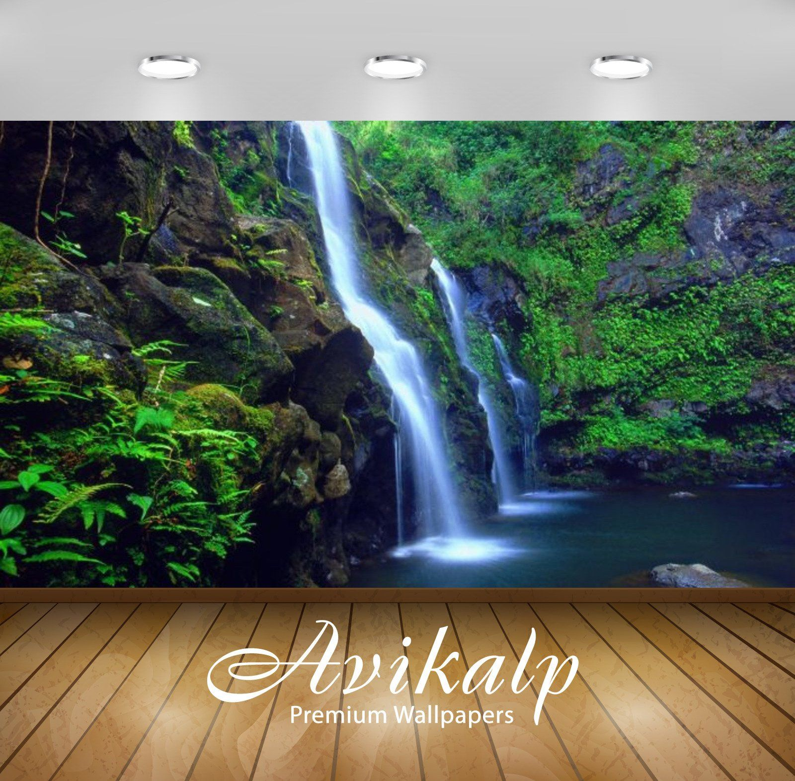 Avikalp Exclusive Awi2686 Green Waterfall Hawaii Islands