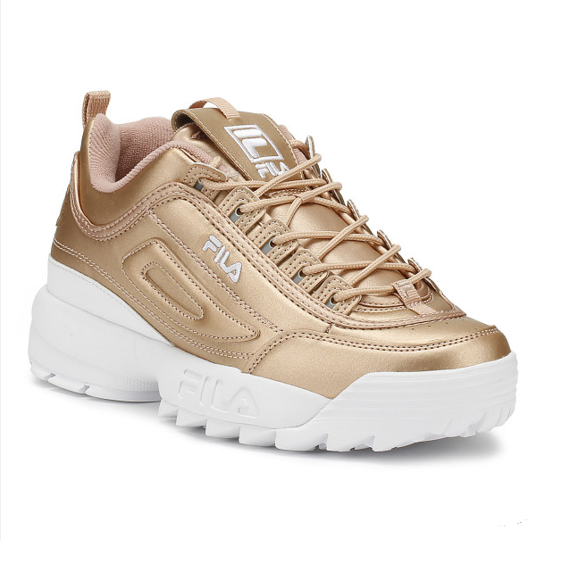 Fila Disruptor II Womens Metallic Rose Gold Premium Trainers ...