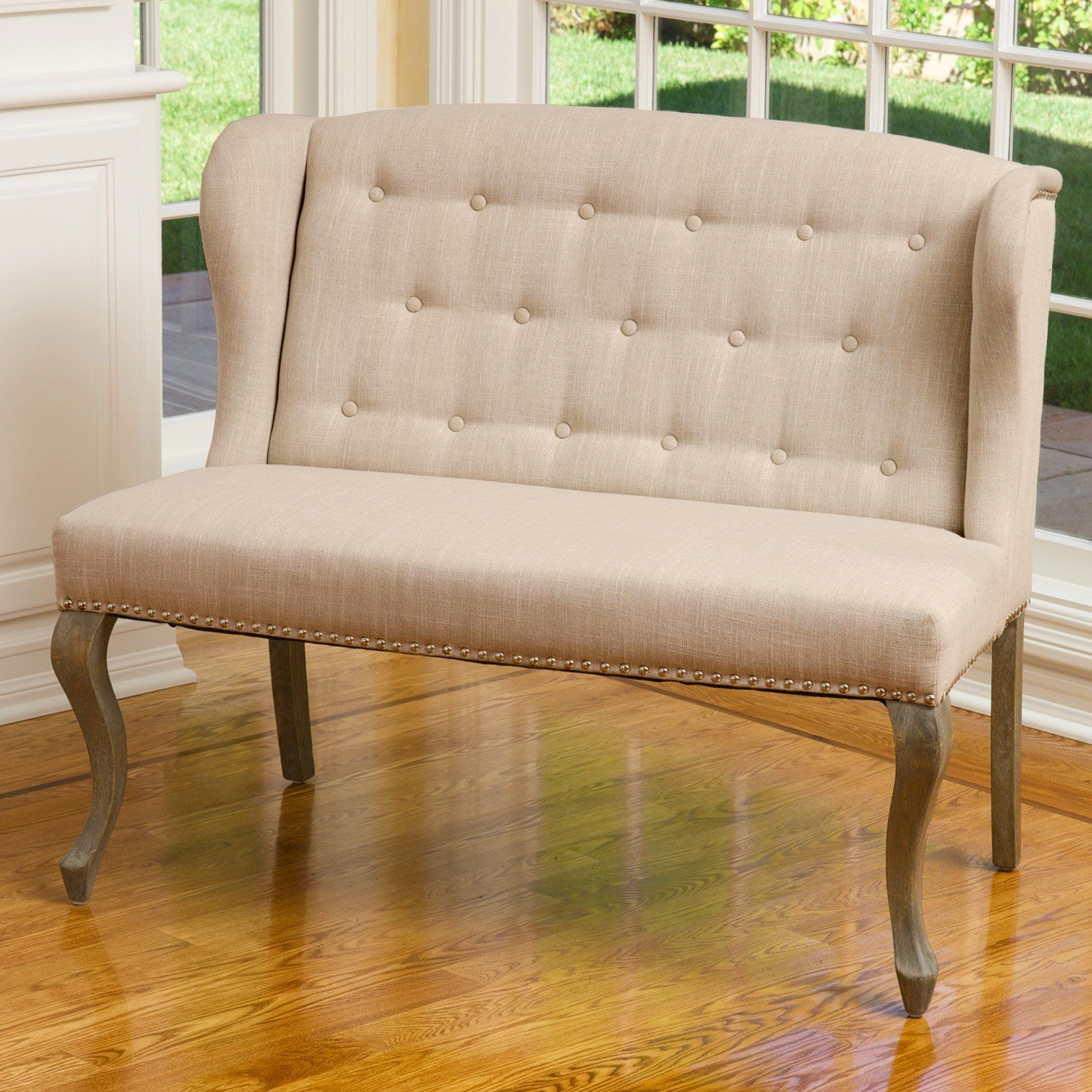 Best Selling Home Emily Wingback Settee Bench   Add A Touch Of Vintage  Romance To Your