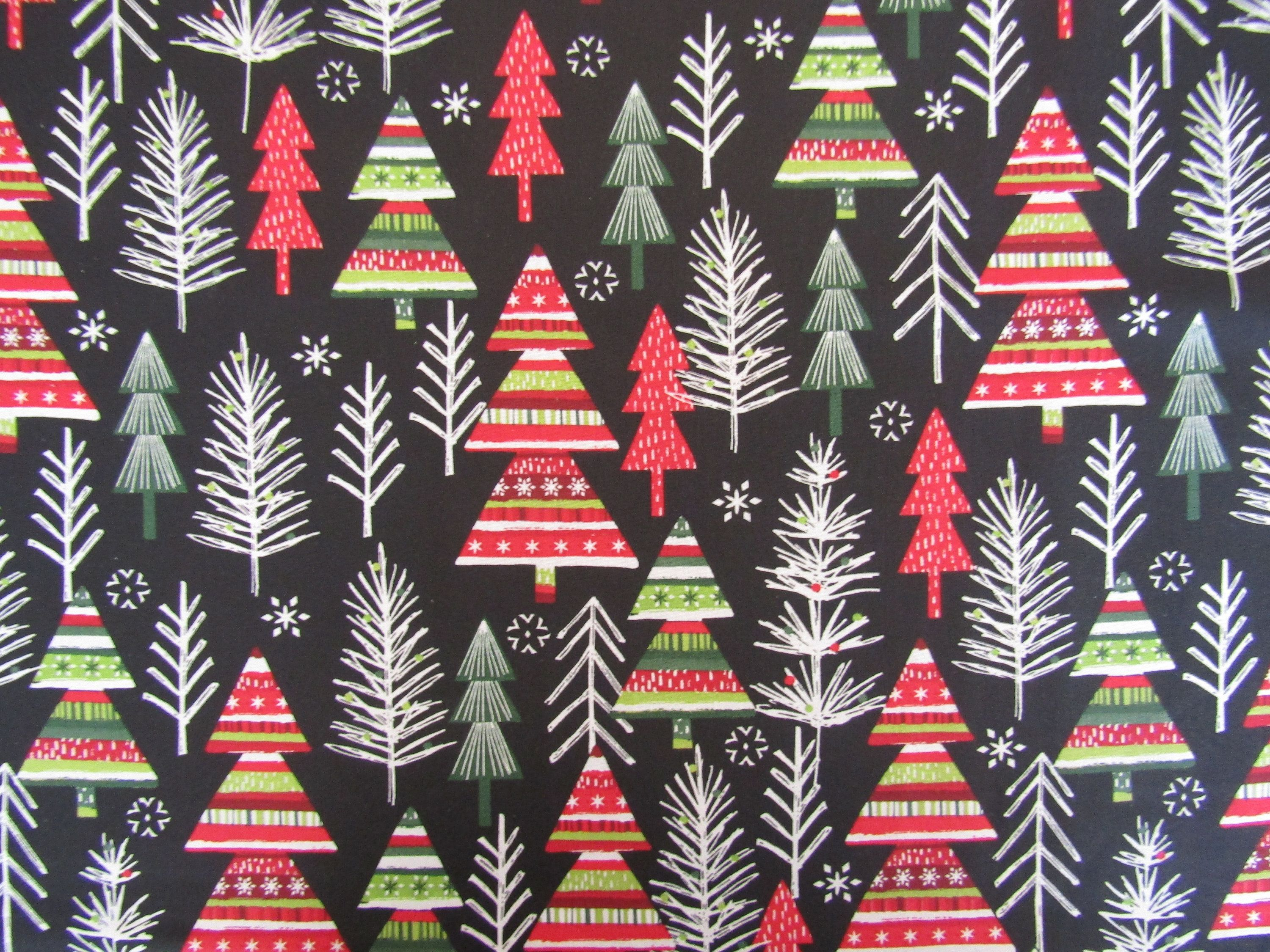 Modern Christmas Tree Fabric 100 Cotton Fabric Fabric By The