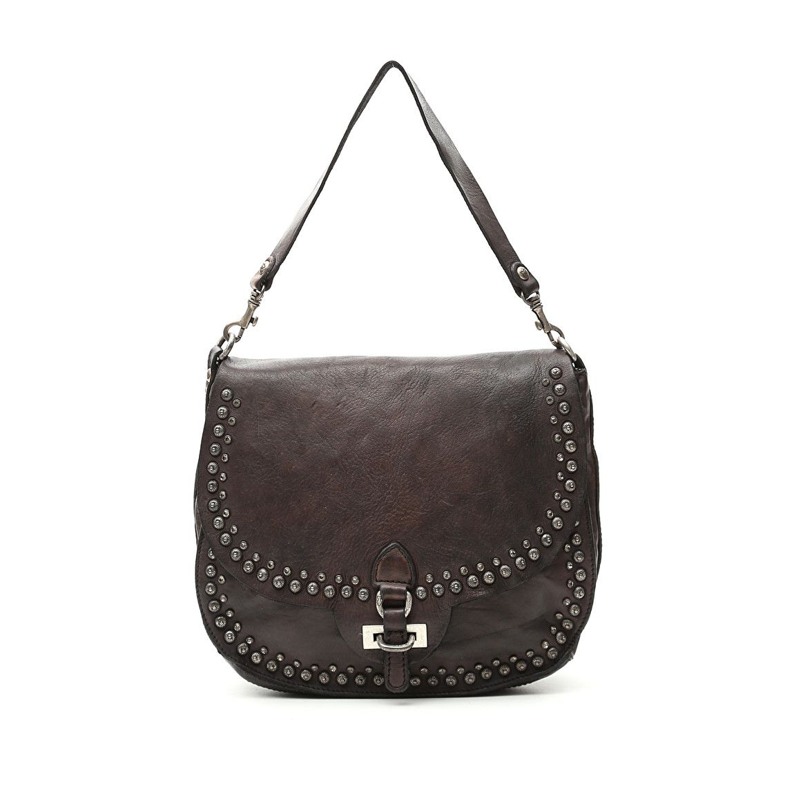 1982fe748b44 Cross-body bag in grey leather with studs