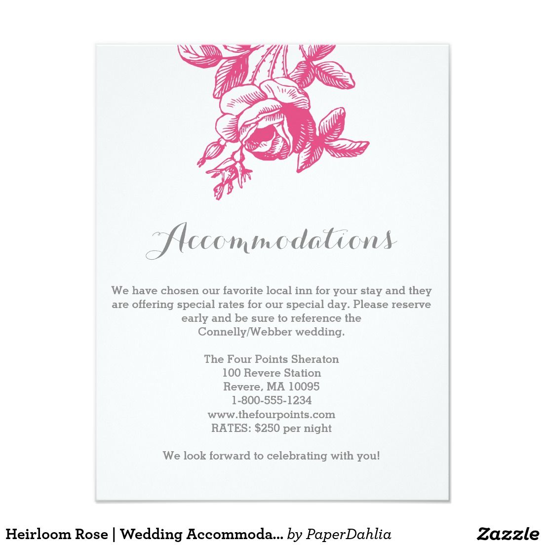 Heirloom Rose | Wedding Accommodation Card