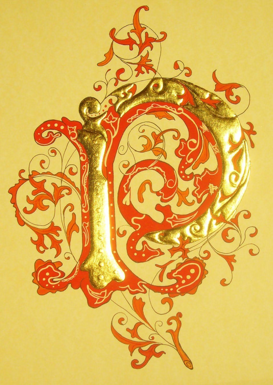 Enluminures par Mona Dalbec: '' P '' à feuilles rouges
