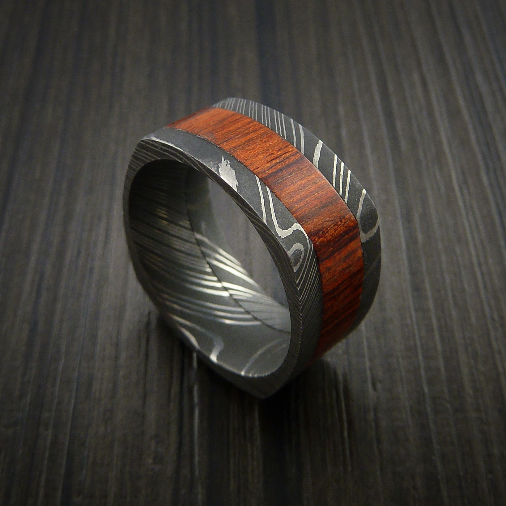 Cocobolo Hardwood and Damascus Steel Wide Square Ring Custom Made