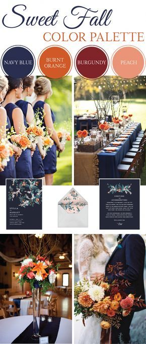 Sweet Fall Wedding Color Palette - LinenTablecloth #weddingfall