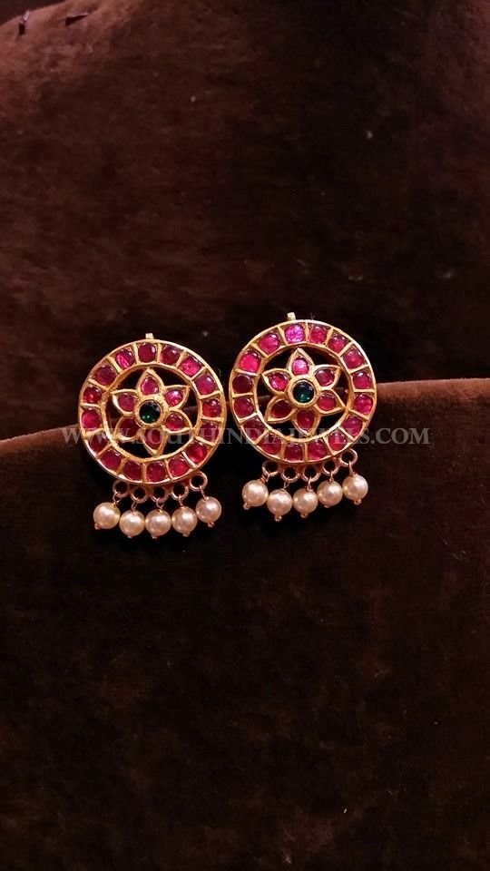 Gold Antique Ear Stud Adorned With Kemp Rubies And Pearls For Inquiries Please Contact The