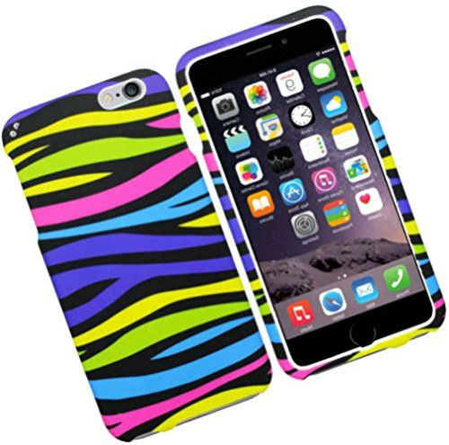 """myLife Purple, Yellow, Pink, and Black {Trendy Animal Zebra Stripes} 2 Piece Snap-On Rubberized Protective Faceplate Case for the NEW iPhone 6 (6G) 6th Generation Phone by Apple, 4.7"""" Screen Version """"All Ports Accessible"""" myLife Brand Products http://www.amazon.com/dp/B00U0BBEAE/ref=cm_sw_r_pi_dp_vQgfvb155MP4V"""