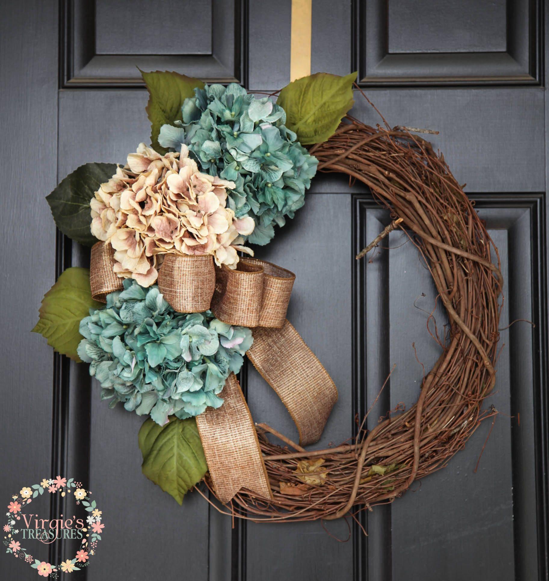 Beautiful Hydrangea Wreath All Season Grapevine Wreath Fall Wreath Front  Door Wreath