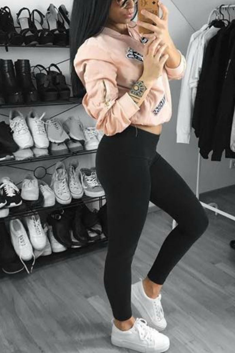 29e04d3116 Comfy Cute fall winter outfit idea with black leggings white sneakers and a  pink patch work bomber jacket