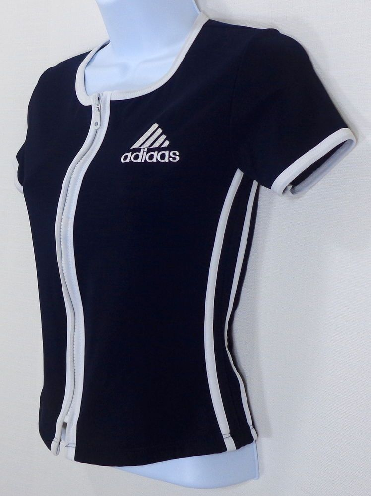 e771e83c5a4e Women s Vintage Adidas Shirt Athletic Short Sleeve Zipper White USA Size S  Small  adidas  ShirtsTops