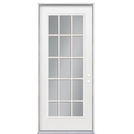 Masonite Clear Glass Left Hand Inswing Primed Steel Prehung Entry