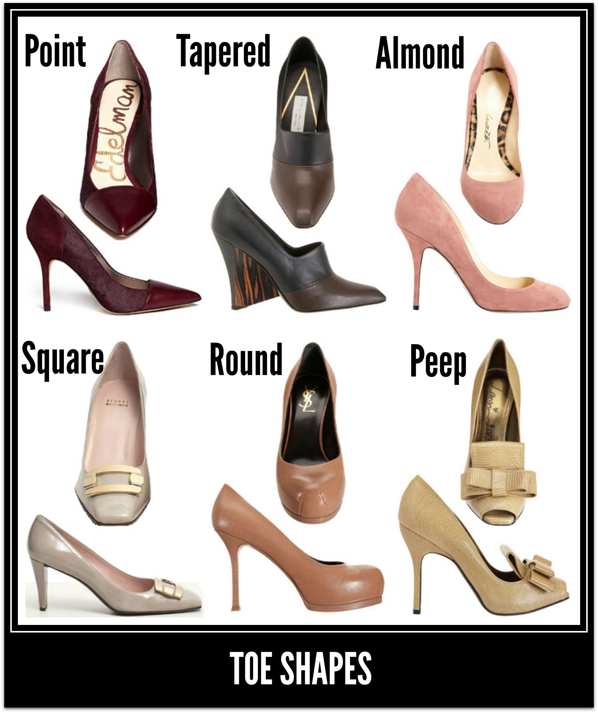 Shoe toe shapes   Scarpe
