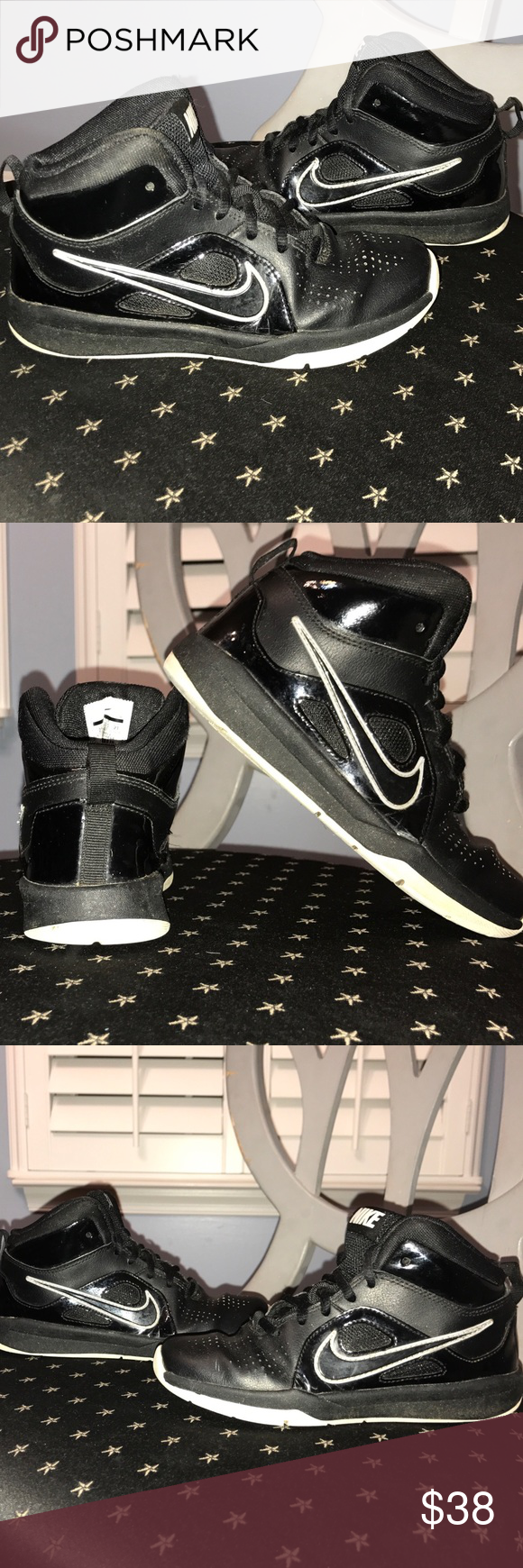 53b6670a85fd1 Nike Team Hustle D 6 Black/ White basketball shoes Nike Team Hustle ...