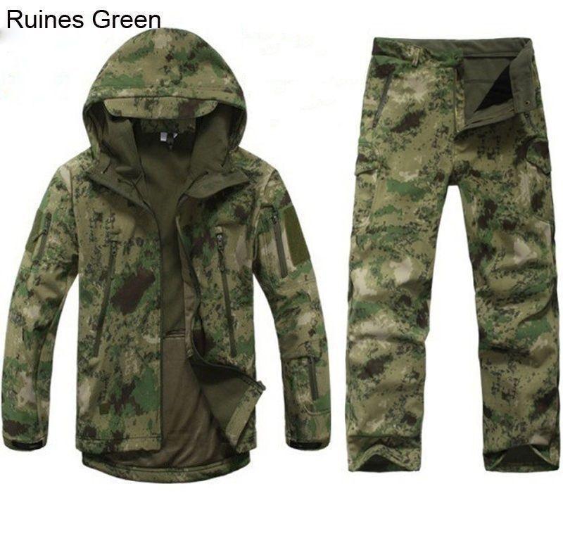 2cf56793e5c9b Outdoor Fleece camouflage hunting men coat coat trousers shark skin ...