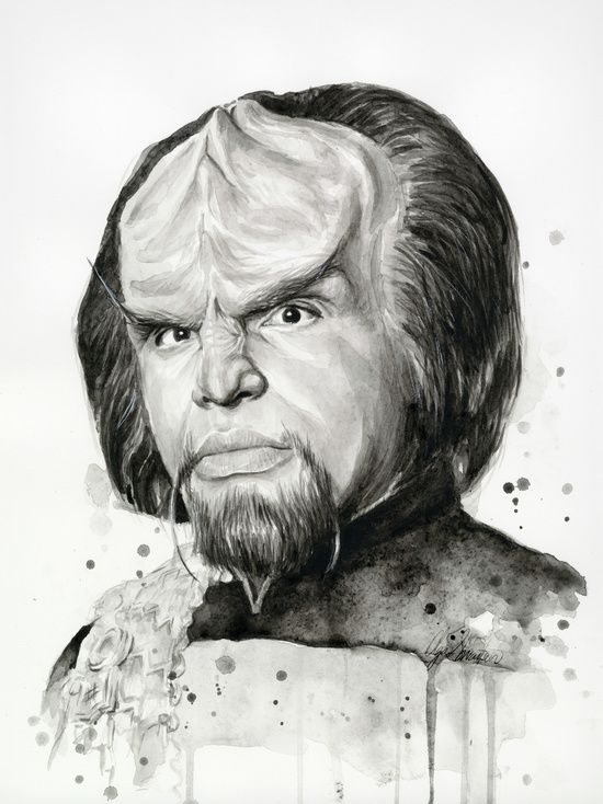 By Olechka #illustration #artwork #digital #painting #fantasy #art #artprint #sketch #pencil #blackandwhite #startrek #worf