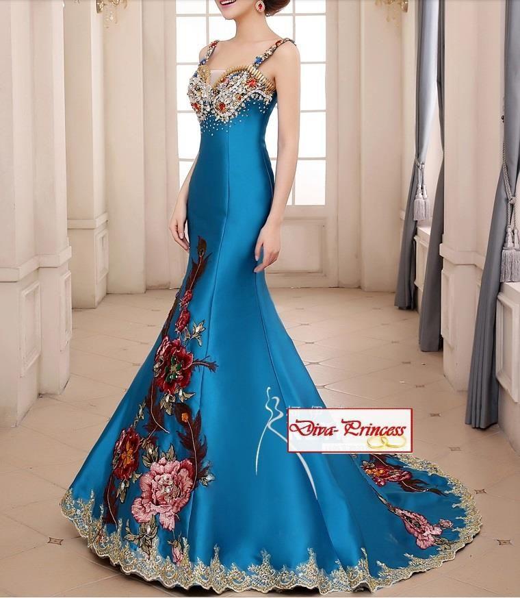 dlhé slávnostné šaty s vlečkou a bohatou aplikáciou