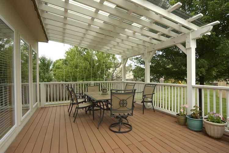 covered deck - pergola with clear cover on top - interesting...and likely  less expensive than a full roof. Lots of light too. - Covered Deck - Pergola With Clear Cover On Top - Interesting...and