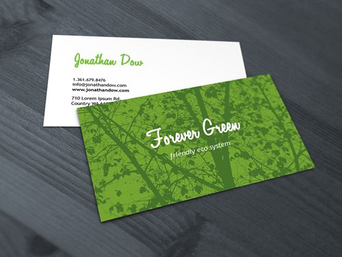 Forever Green Name Cards Cool Business Card Design