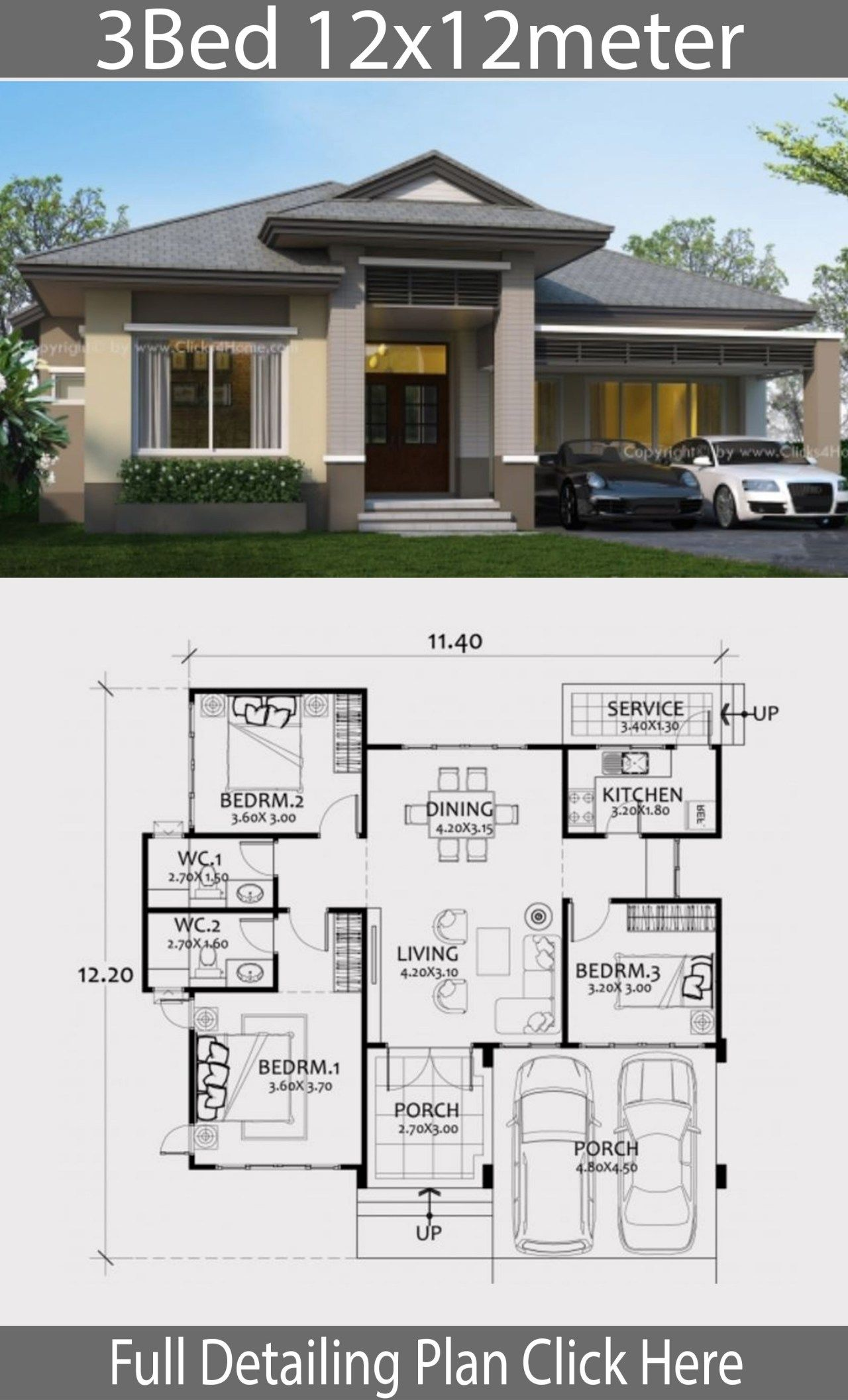 Home Design Plan 12x12m With 3 Bedrooms Bungalow Style House