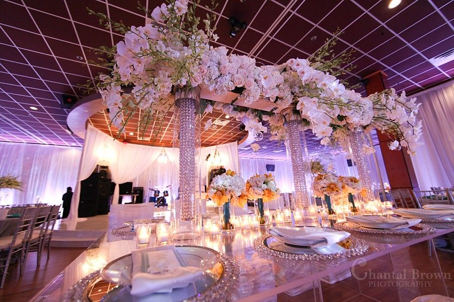 Dallas Wedding Reception Beautiful Detailed Diamond Crystal White Roses Centerpieces By Chantal Brown Photography