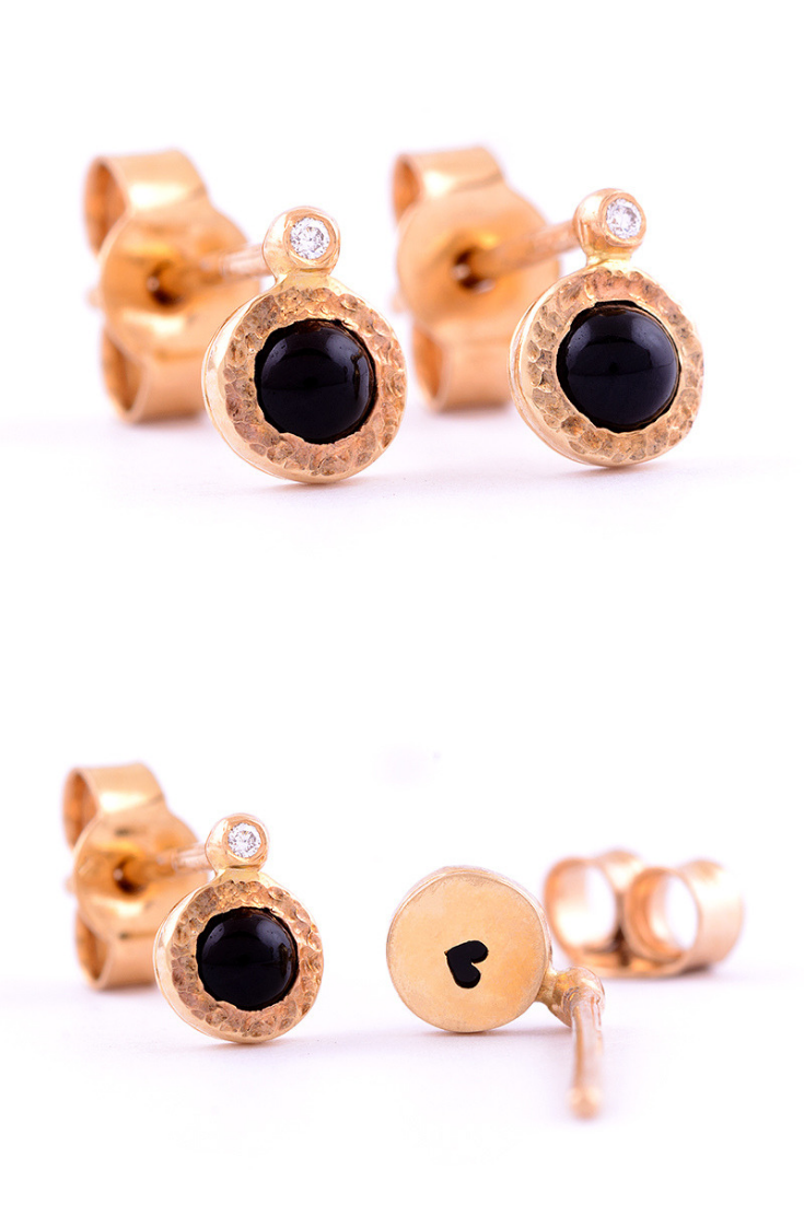 Tiny Black Gemstone Earrings Handcrafted In 14k Yellow Rose