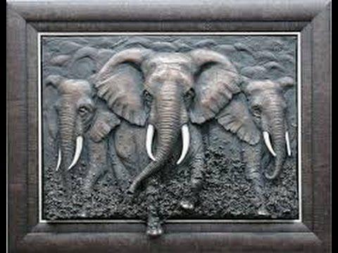 Elefante En Cuadro Como Hacer Cuadro De Relieve De Elefante Arte De Elefante Cuadros En Relieve Producción Artística