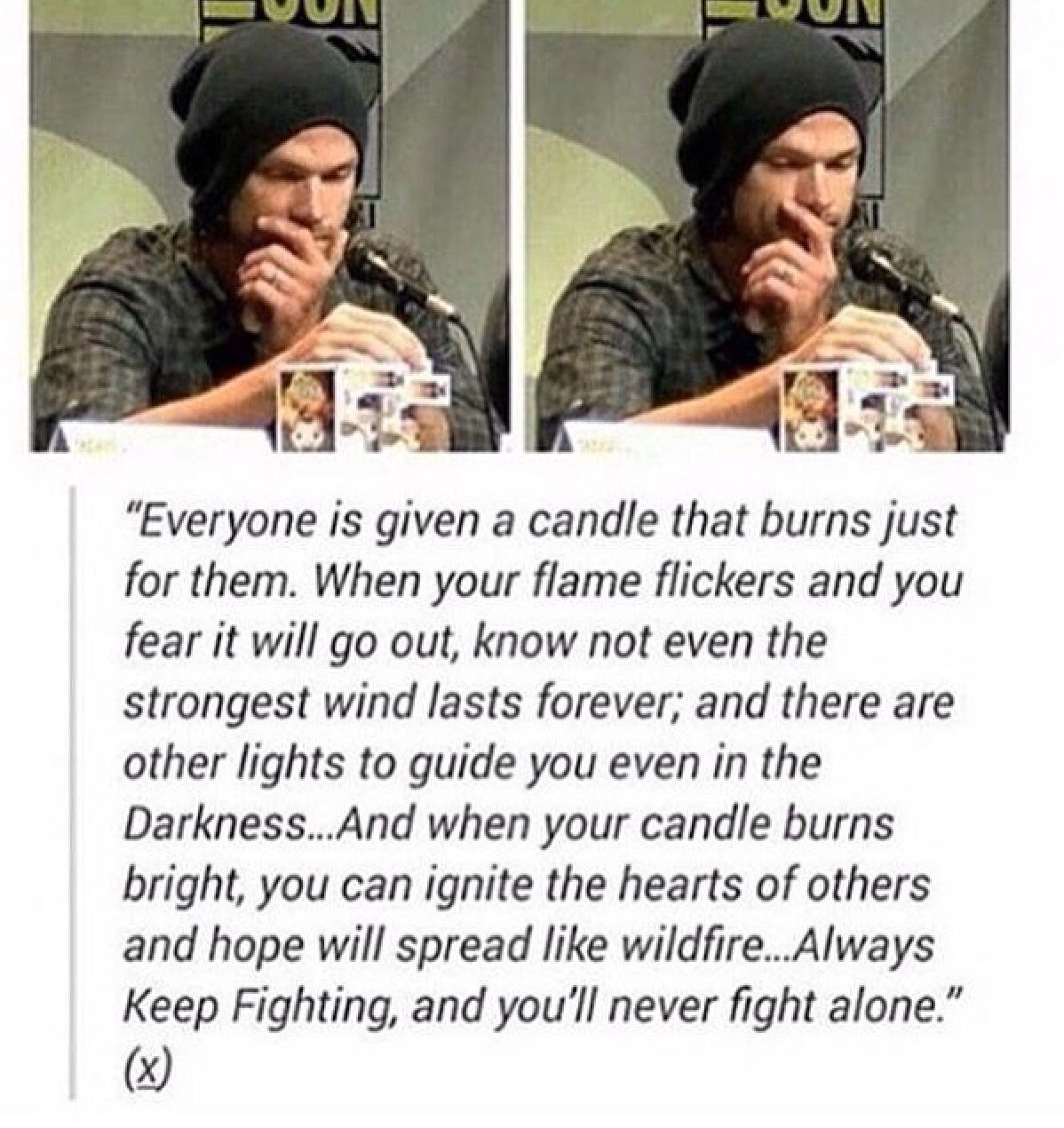 Jared padalecki quotes - Candles At Comic Con 2015