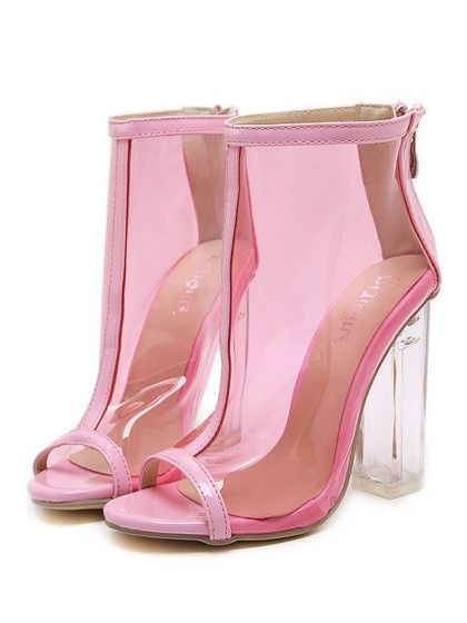 8a4e94a6bcb1 Pink Clear Peep Toe Lucited Chunky Block High Heel Ankle Booties Sandals