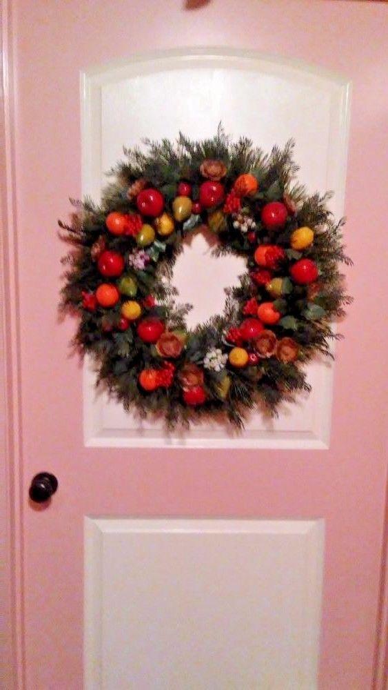 Big Retro Lush 26 Inch Gorgeous Plastic Fruit Wreath Door Decor