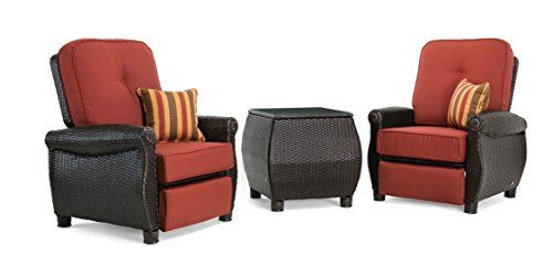 La-Z-Boy Outdoor Breckenridge 3 Piece Resin Wicker Patio Furniture Set (Brick Red): 2 Recliners and Side Table with All Weather Sunbrella Cushions Review