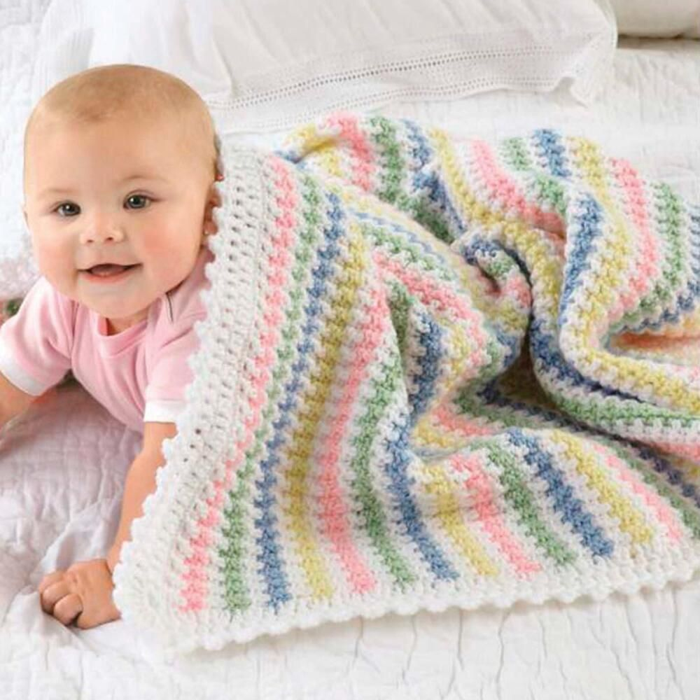 Red Heart® Soft-Touch Stripes Baby Blanket Crochet Afghan