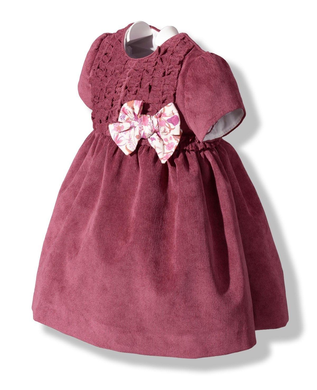 Vestido en pana fina granate para bebé | Granate, Para bebés y Bebé