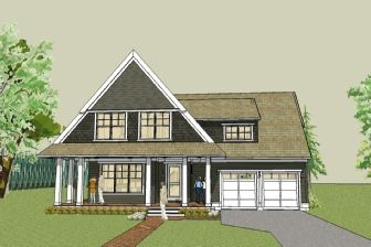 simple cottage house plan with wrap around porch and open