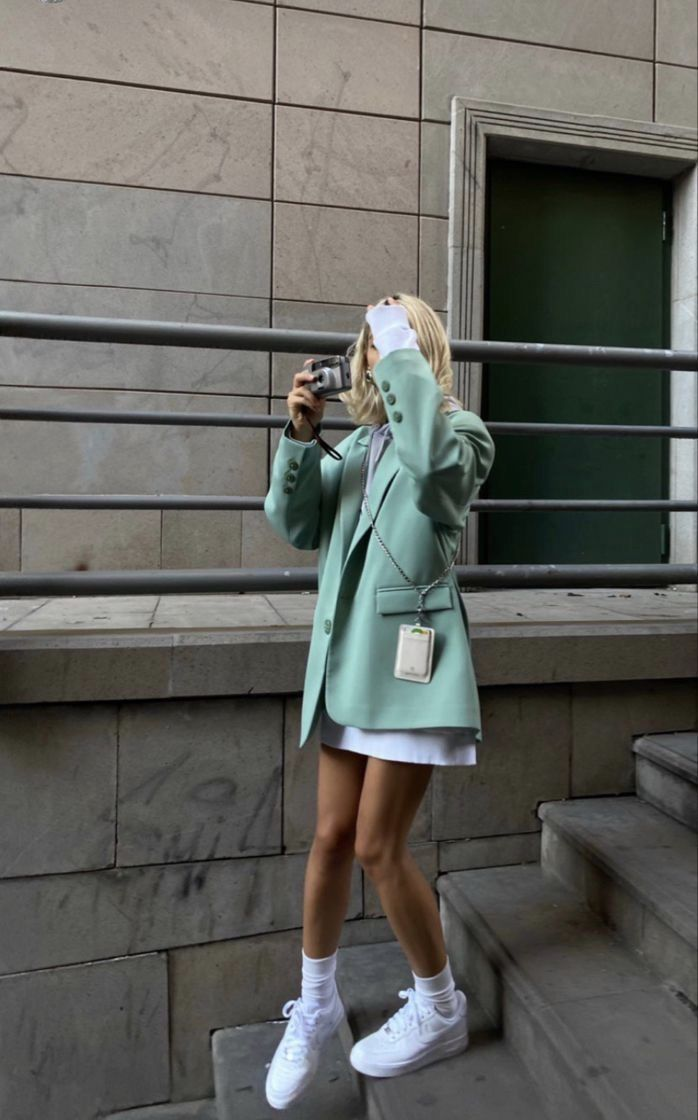 Teal Blazer with White Sneakers