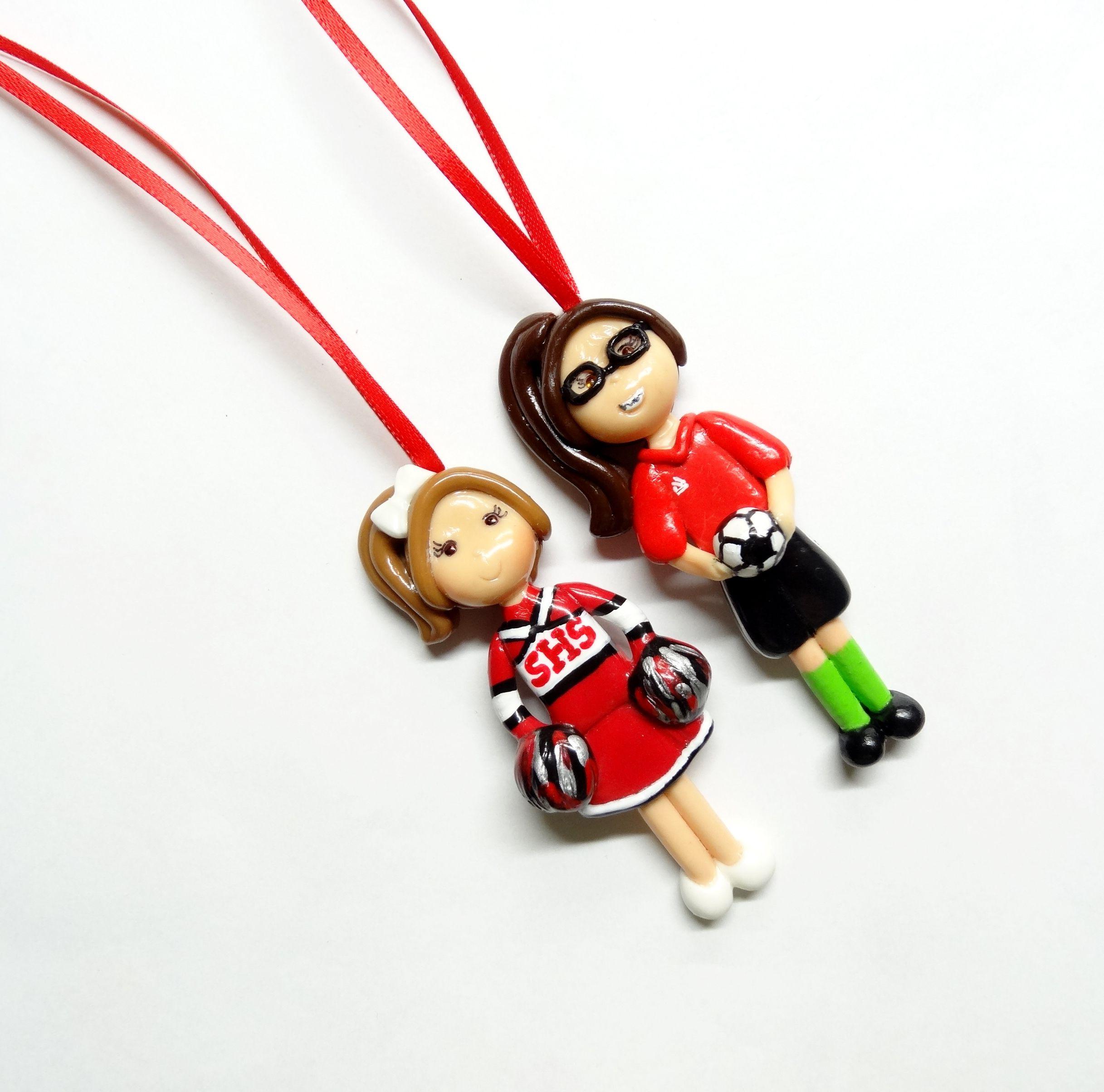 Soccer ornaments - Custom Cheerleader And Soccer Player Girl Ornaments