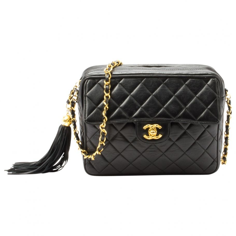 8e96aa916048 Black Leather Handbag in 2019 | VESTIAIRE VINTAGE | Vintage chanel ...