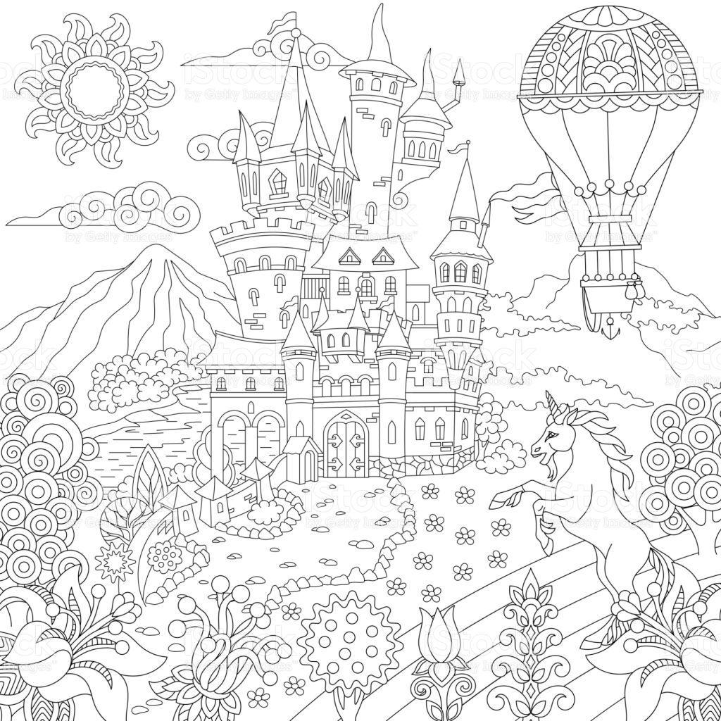 coloring page of fairytale landscape with vintage castle