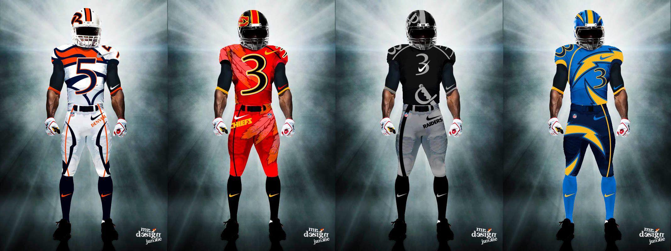 Afc West Nfl Uniforms New Nfl Uniforms 32 Nfl Teams