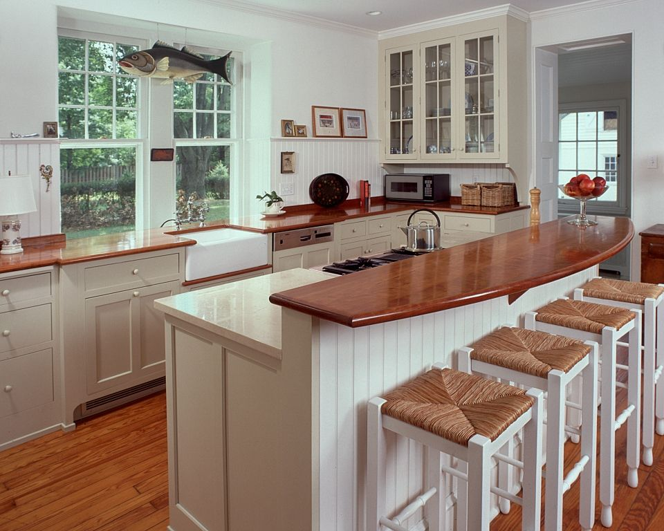Butcher block countertop on raised bar of island. | Kitchen Ideas ...