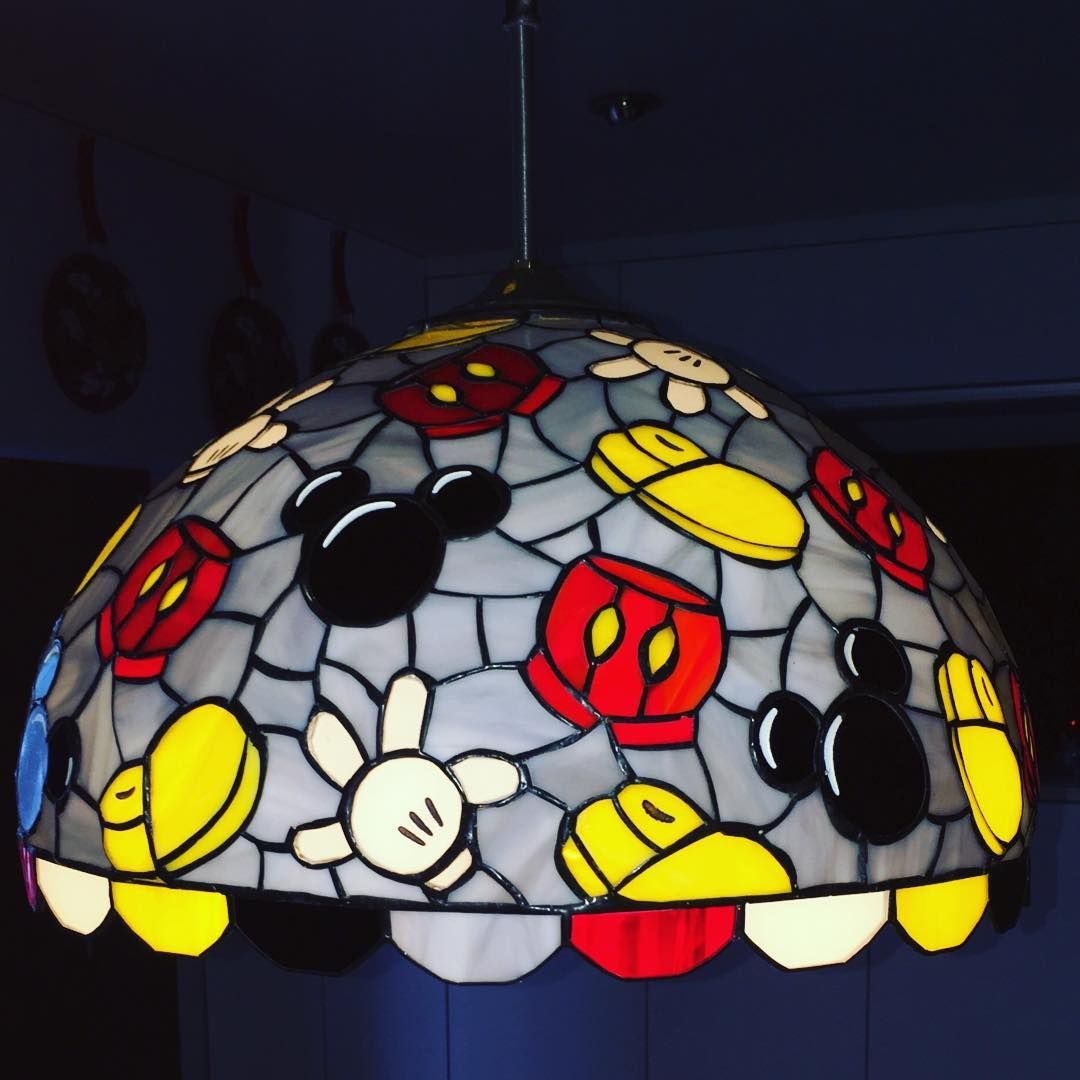 Disney mickey mouse themed stained glass lamp shade home decor idea disney mickey mouse themed stained glass lamp shade home decor idea mozeypictures Images